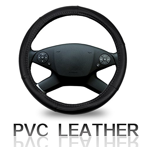 ECCPP Steering Wheel Cover 15 Inch Universal PVC Semi-PU Leather - Black with Grey Line Auto Steering Wheel Cover ()