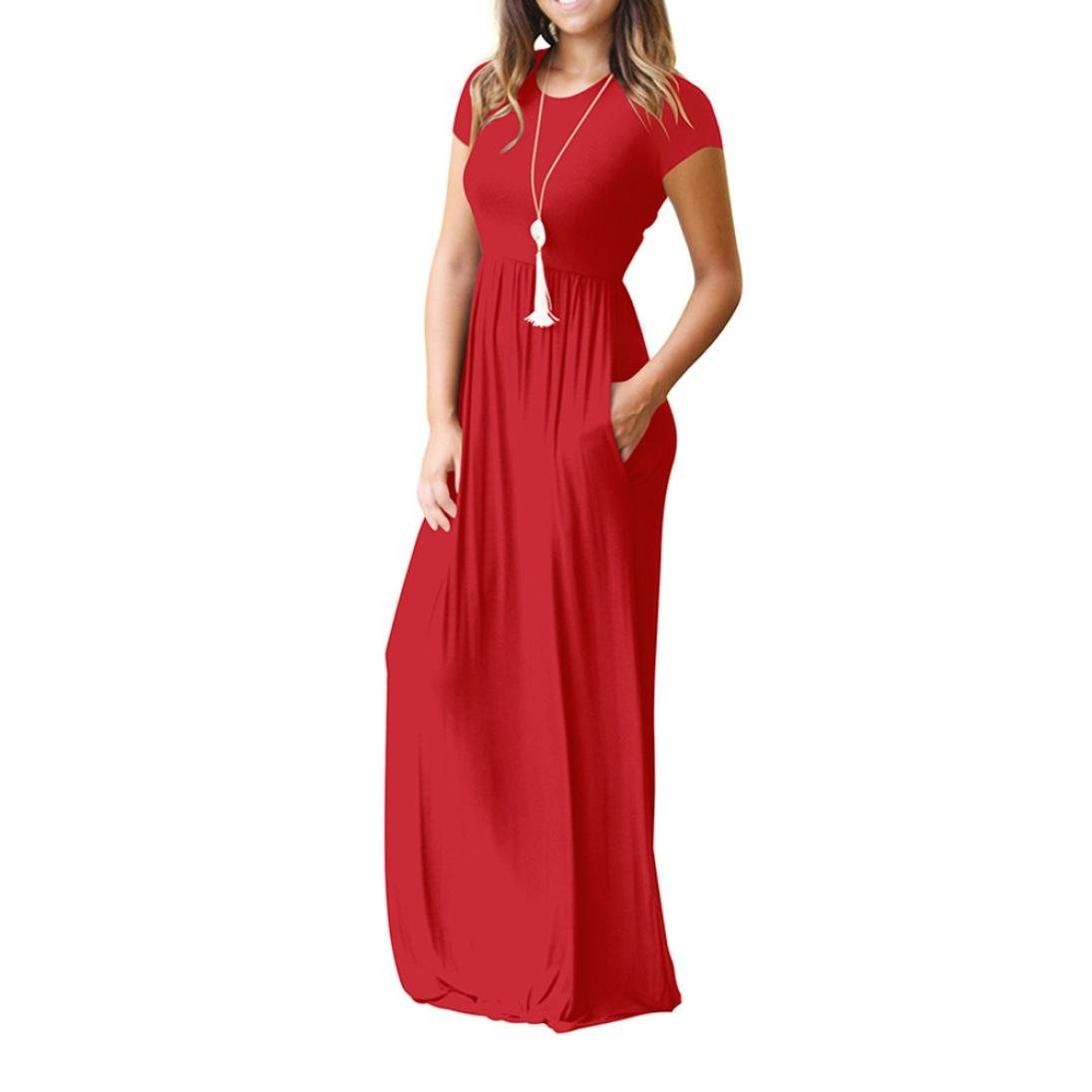c0cc688f216c MEEYA Women O-Neck Casual Short Sleeve Floor-Length Loose Party Dress with  Pockets at Amazon Women s Clothing store