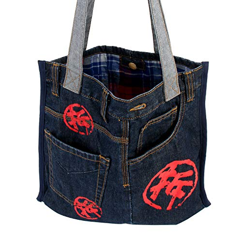 Ladies China Handbags (ASK 4 JEANS Denim Jeans Purse Shoulder Hand bags For Women - Chino series Mah-Jongg text sew on patch(Indigo))