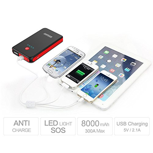 Arteck Car Jump Starter Auto Battery Charger And 8000mah