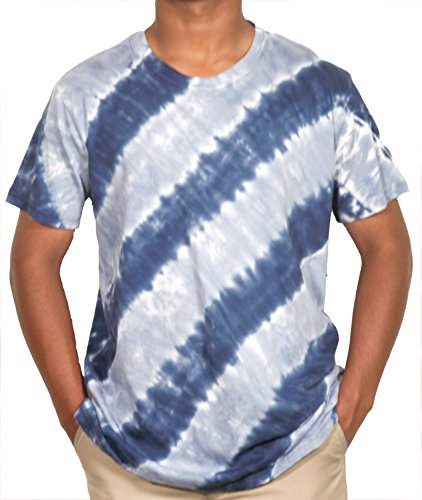 - Ace Apparels Men's Crew Neck Tie Dye, blue blast/white/light blue (L)