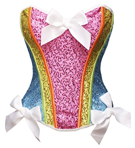 Bslingerie Womens Waist Cincher Bustier Boned Corset (M, Rainbow -