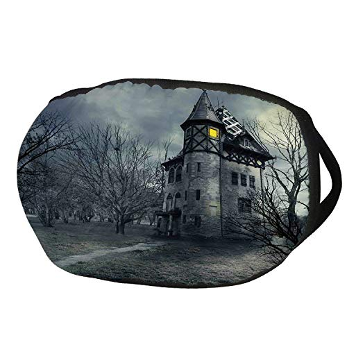 Fashion Cotton Antidust Face Mouth Mask,Halloween,Halloween Design with Gothic Haunted House Dark Sky and Leafless Trees Spooky Theme Decorative,Teal,for women & -