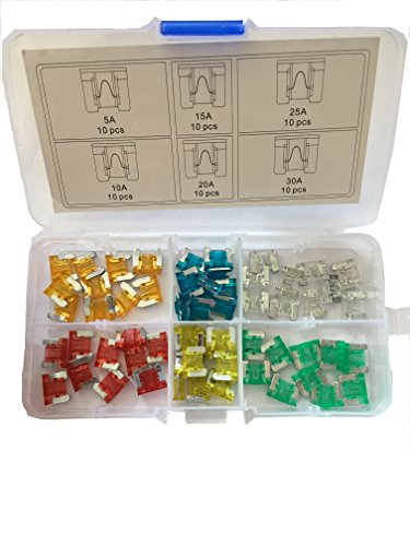 Price comparison product image KOLACEN Automotive Car Truck Low-profile Micro Mini Blade Type Fuse Assorted Kit 5 10 15 20 25 30Amp (Pack of 60)