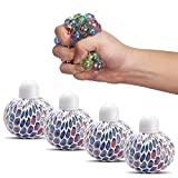 Mesh Squishy Ball Anti Stress Balls Rubber Multi Color Vent Grape Stress Ball Squeezing Stress Relief Ball- For Kids & Adults.Stress Squishy Toys For Autism, ADHD, Bad Habits & More(4PCS)