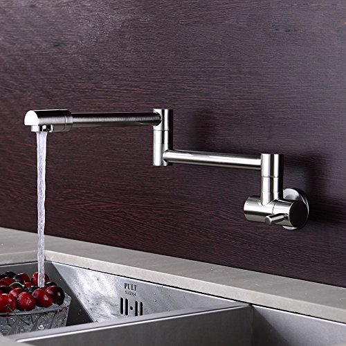 JinYuZe Modern Wall Mounted Swing Arm Kitchen Sink Faucet Cold Only Retractable Folding Pot Filler (Brushed Nickel) -  KY020602