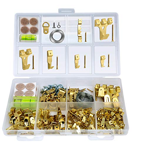 Hopttreely Heavy Duty Photo Frame Hooks, 216 Pieces Ultimate Picture Hanging Kit (IncludIing Hangers, Nails, D-Ring, Wire, Level, Felt Pads and More), Picture Hanger Assortment Tool for Wall Mounting