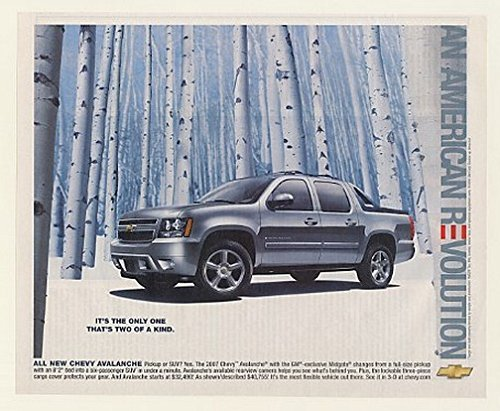 2007 Chevy Avalanche Pickup SUV It's the Only One That's Two of a Kind Print Ad (52168)