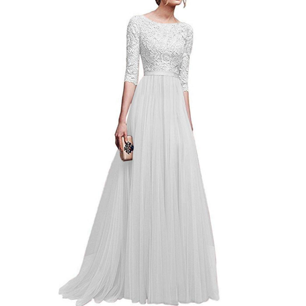 GuGio Applique Tulle 3//4 Sleeves Long Prom Dresses 2019 for Women