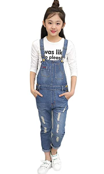 elegant and sturdy package buying now Official Website FAIRYRAIN Big Girls Kids One Piece Classic Adjustable Strap Denim Bib  Overalls Washed Casual Dungarees Jumpsuit