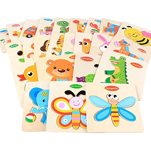 Amaping 9 Sets Wooden Puzzle Jigsaw Sets for Children Age 1-5 Years Old Preschool Puzzles Intelligence Development Educational Animal Puzzle Jigsaw Present Baby Kids Cognition Training Toy (Animals)