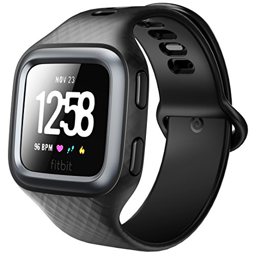 Clayco Fitbit Versa Band, [Hera Series] Shock Resistant Bumper Frame Case Strap Bands Fitbit Versa Sports Replacement Smart Fitness Watch Wristband (Black) by Clayco