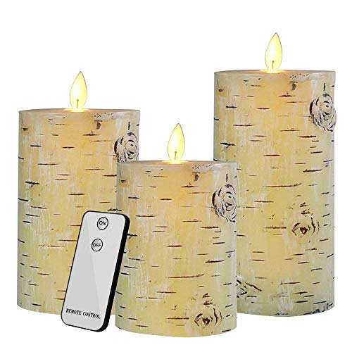 Flameless LED Candles Flickering Birch Bark Unscented Pillar 100 Hours Moving Flame 4 5 6 Set of 3 Real Wax Battery Operated with Timer and Remote Control