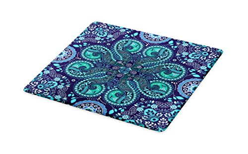 Lunarable Paisley Cutting Board, Motifs Inspired with Ivy Flowers Round Shapes, Decorative Tempered Glass Cutting and Serving Board, Large Size, Indigo Teal Cadet Blue Slate Blue