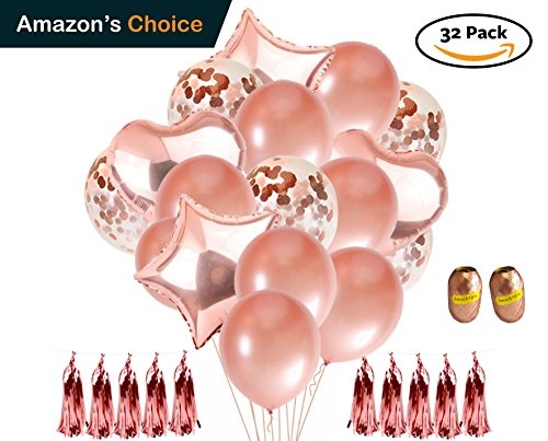 Confetti Balloons Rose Gold - 12 inch & 18 inch Latex/Heart/Star Balloons for Wedding, Baby Shower, Birthday, Anniversary, Party Decorations, 32 Pack