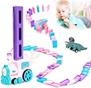 130 Pcs Domino Train Blocks Rally Electric Toy Set, Train Model with Lights and Sounds Construction and Stacki