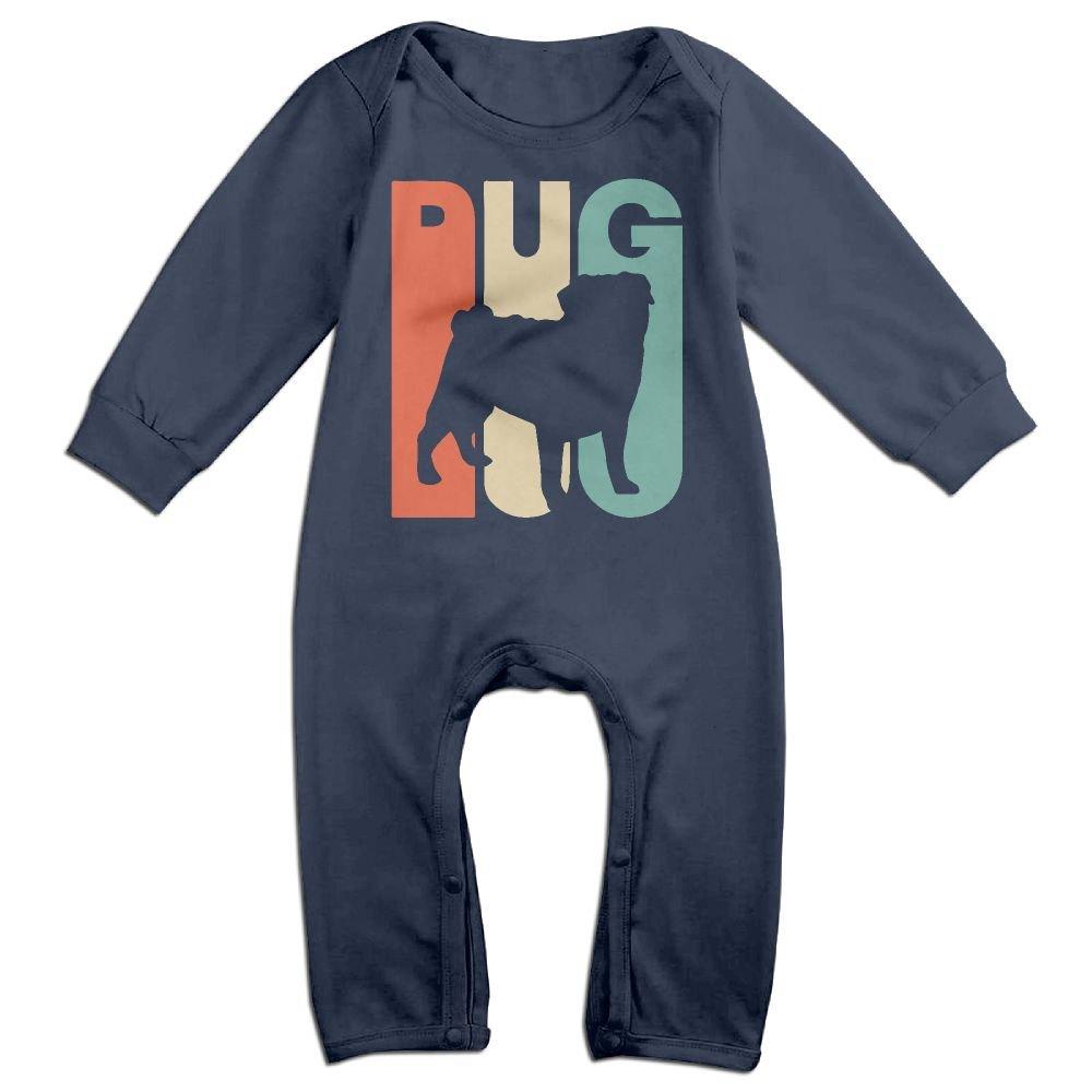 Newborn Baby Organic Coverall Vintage Style Pug Silhouette Baby Rompers