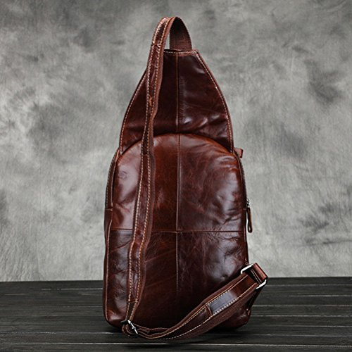 Bag Leather Men's Waterproof Pack Chest Zhhlaixing Multifunction Coffee Pouch Shoulder Travel Satchel Cowhide xHwRnO