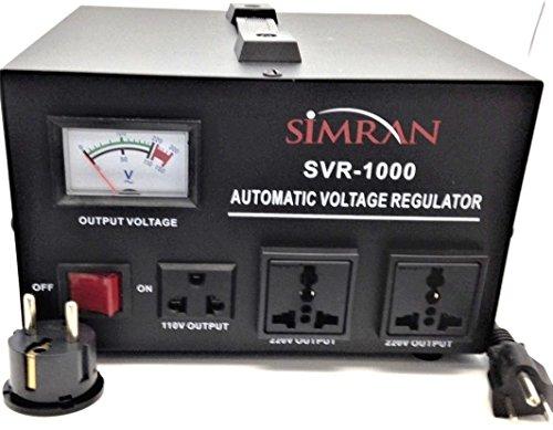 Simran SVR-1000 Automatic Voltage Regulator with Built-in 110 Volt - 240 Volt Up Down Voltage Transformer - 1000 Watt