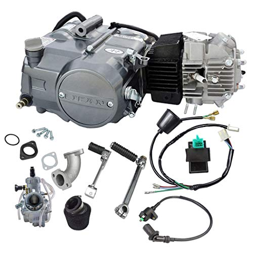 WPHMOTO Lifan 125cc 4 Stroke Air-Cooled Engine Motor With Carburetor Wiring Harness Kit for XR50 CRF50 XR CRF 50 70 Dirt Pit Bike Kawasaki ()