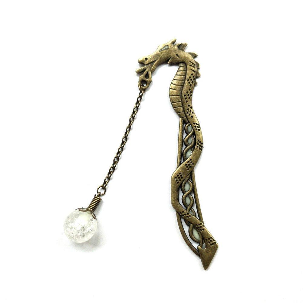 Ocamo Retro Unique Luminous Dragon Shape Bookmark Stylish China Style Bookmarks Bronze