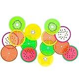 BmStar 14 Pcs Fruit Slice Silicone Coaster, Non-Slip Drink Cups Pad
