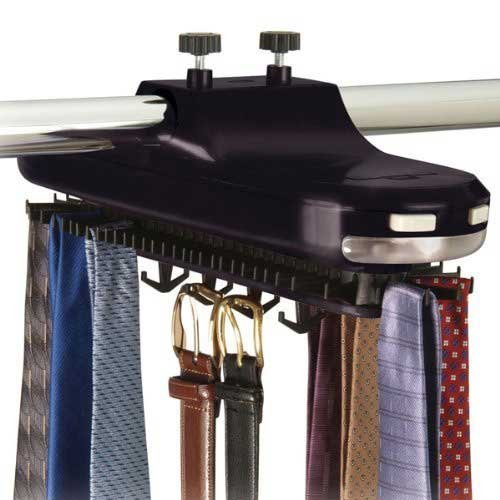 Richards Homewares Operated/Black Motorized Tie Rack with LED Lights – Rotating with Batteries – Hold up to 64 Ties and 8 Belts – Standard Rods Good for Most Closet Types