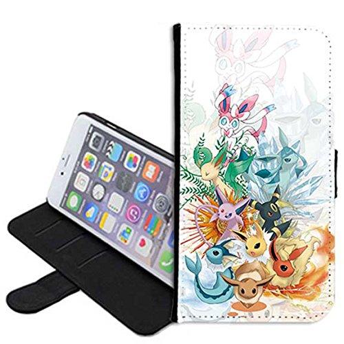 Apple Iphone  Wallet Case Eevee Evolutions Pokemon Manga Pu Leather