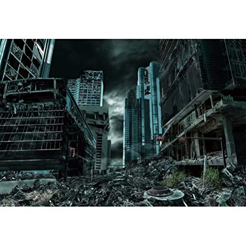 Leowefowa 10x8ft Destroyed City Backdrop Abandoned City Ruins Background Collapsed Buildings Armageddon Natural Disaster Civil War Destruction Background Halloween Movie Film Video Studio Photography