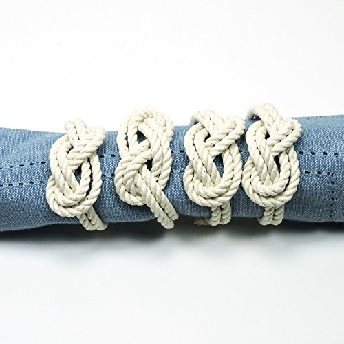 Figure Eight Infinity Knot Napkin Rings Natural White Set of 4