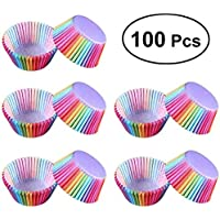 St. Lun 100 Pcs Rainbow Cupcake Liner Cupcake Paper Baking Cups Muffin Cases Cake box