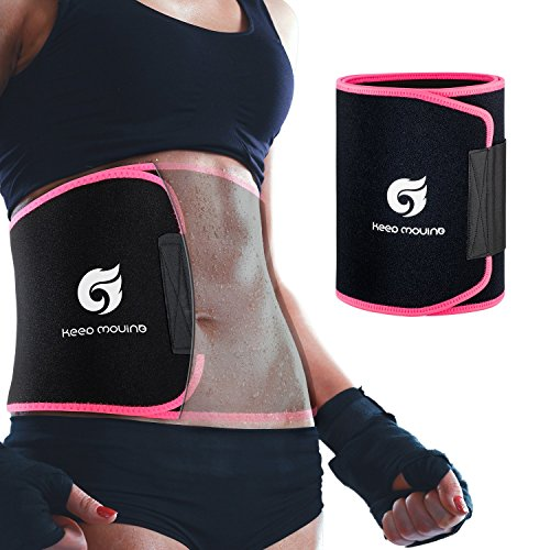 Waist Trimmer Belt, Premium Waist Trainer Sweat Sauna Belt for Women & Men, Promotes Sweat & Weight Loss in Stomach Fat Burning, Including Free Carrying Case (Large: 45.7