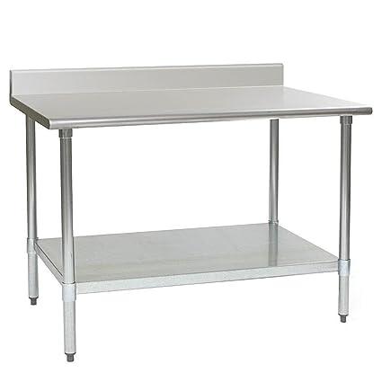 Custom Stainless Steel Work Table with Under Shelf & Back Splash (Size : 1500x700x850 mm)