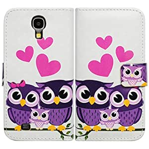 Casea Packing Purple Cartoon Owl Bird Wallet Leather Cover Case For Samsung Galaxy S4 i9500