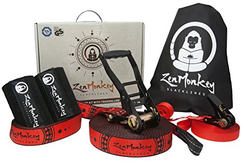 ZenMonkey 60 Foot Slackline Kit with Pro-Grade Ratchet + Training Line + Tree Protectors + Carry Bag and Easy Setup Instructions - For Family, Kids and Adults by ZenMonkey Slacklines
