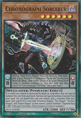 Amazon.com: Yu-Gi-Oh! - Chronograph Sorcerer - FIGA-EN058 - Super Rare -  1st Edition - Fists of The Gadgets: Toys & Games