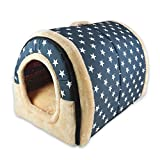 ANPI 2 In 1 Pet House and Sofa, Machine Washable White Stars Pattern Non-slip Foldable Soft Warm Dog Cat Puppy Rabbit Pet Nest Cave Bed House with Removable Cushion Detachable Cashmere Mattress, 3 Sizes (Large)