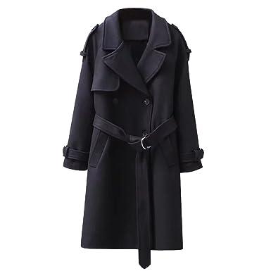 iBaste Gabardina Larga Clásica Mujer Solapa Chaqueta con Cinturón Abrigo de Lana: Amazon.es: Ropa y accesorios