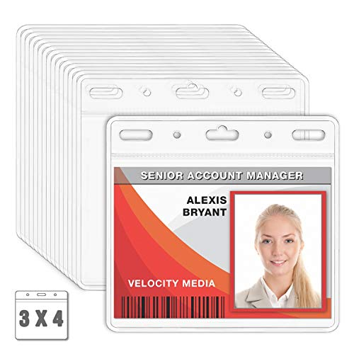 MIFFLIN Plastic Card Holder Horizontal 3x4 Inch Quick Load No Zipper Name ID Badge Clear Bulk 100 Pack -