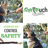 Soft Touch Collars 6 Foot Braided Leather Dog Leash with Traffic Handle, Two Handles for Training and Safety, Double Your Control with 2 Locations, Lead for Large and Medium Dogs Brown 6ft x 3/4 Inch