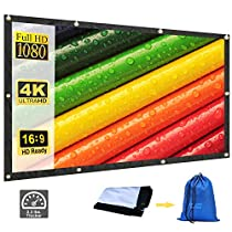 Rhungift 100 inch 16:9 Projector Screen Canvas Curtain Film Movie Projection Screen Video Projector Screen Matte White for Theater Indoor Outdoor
