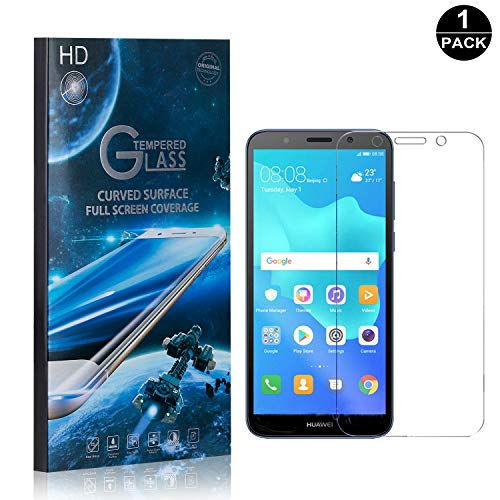 Huawei Y5 2018 Tempered Glass Screen Protector, UNEXTATI Premium HD [Easy Install] [Anti-Fingerprint] Screen Protector Film for Huawei Y5 2018 (1 Pack) ()