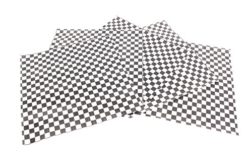 CucinaPrime Food Basket Liner, 12 Inches by 12 Inches, 100 count, Black and White Checkered