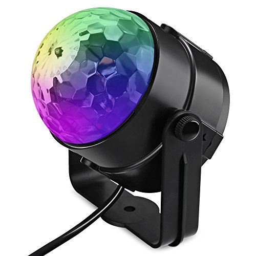 LightMe LED RGB Color Changing Stage Lights Voice Control Rotating Crystal Ball Disco Lamp for Christmas Party Festival Club
