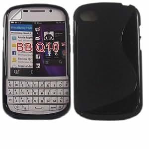 S-Line Gel Cubrir Caso Piel Y Pantalla LCD De Guardia Para Blackberry Q10 / Black
