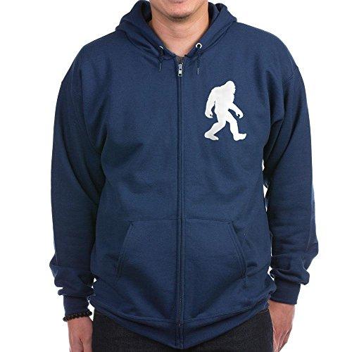 CafePress - White Bigfoot Silhouette Zip Hoodie - Zip Hoodie, Classic Hooded Sweatshirt with Metal Zipper