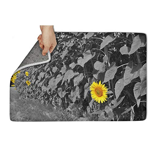 fhmatx Monochromatic Flower Floral Sunflower Bath Mat Door Mat Non Slip Soft and Washable Doormat Cute Funny Welcome Outdoor Mat for Home or Indoor,23.5 x 15.5 inch