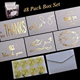"48 Pack Thank You Cards with Envelopes Gold Foil 4"" x 6"" Blank Cards, 6 Different Designs, Come with 48 Gold Heart Thank You Stickers"