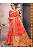 Da Facioun Indian Sarees For Women Designer Wedding Partywear Orange Color In Orange Cotton Silk