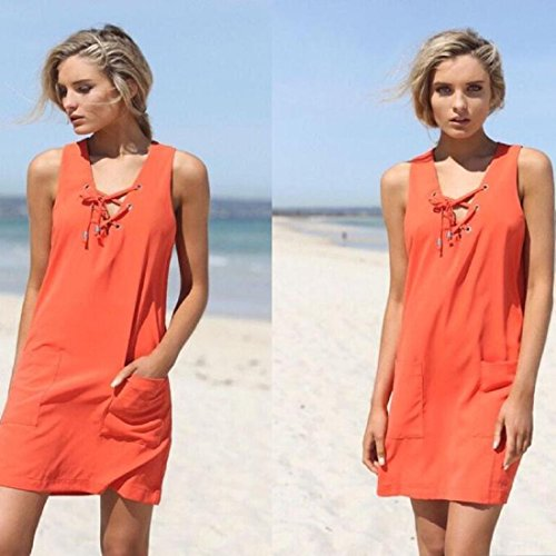 Tongshi Mujer Verano playa Mangas cortas ocasionales Mini Vestir naranja